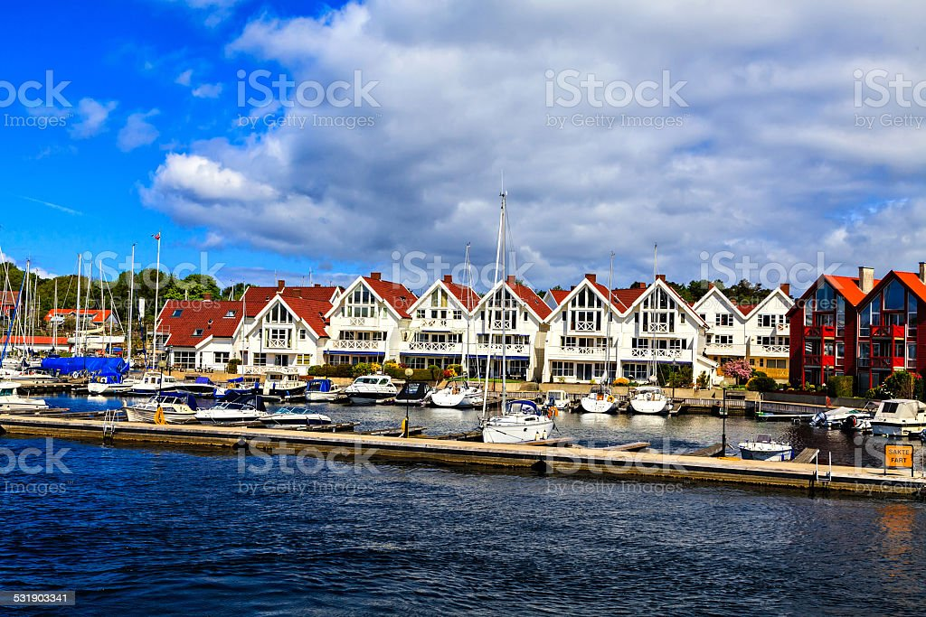Seascape: harbor, yachts and houses, Norway stock photo