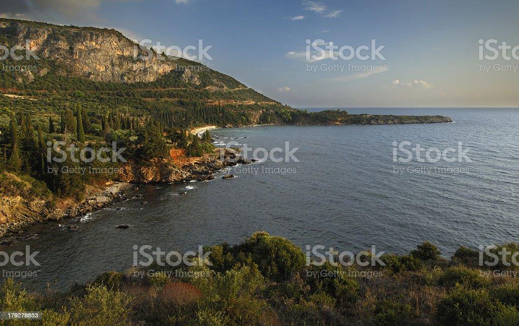 Seascape in Mani, Greece stock photo