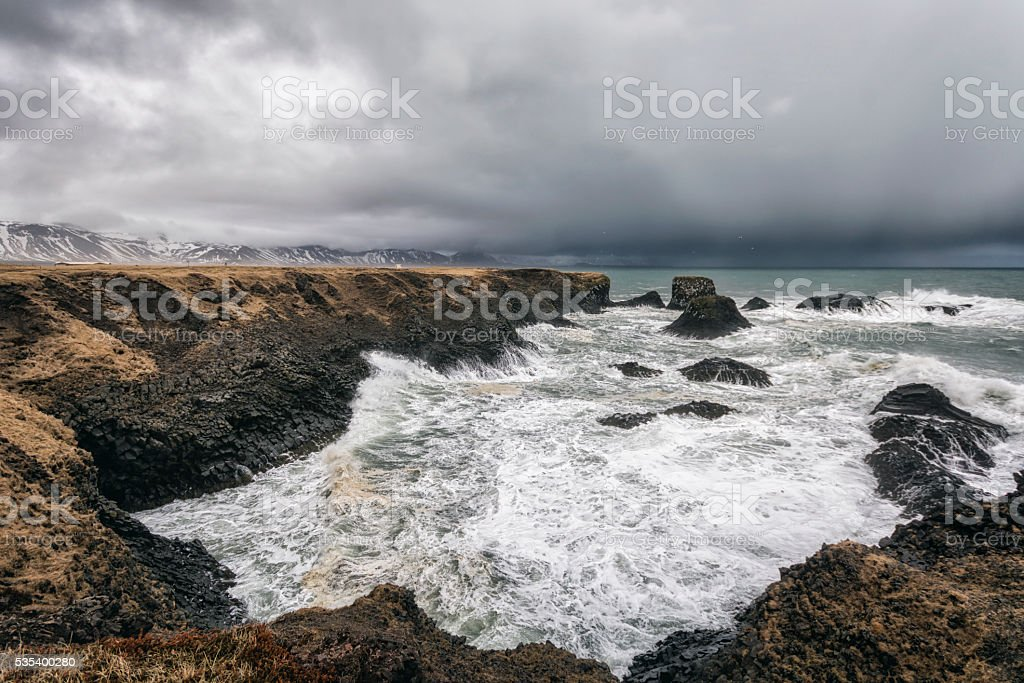 Seascape in Western Iceland stock photo