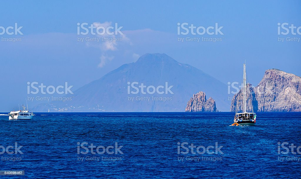 Seascape near Panarea, Italy. stock photo