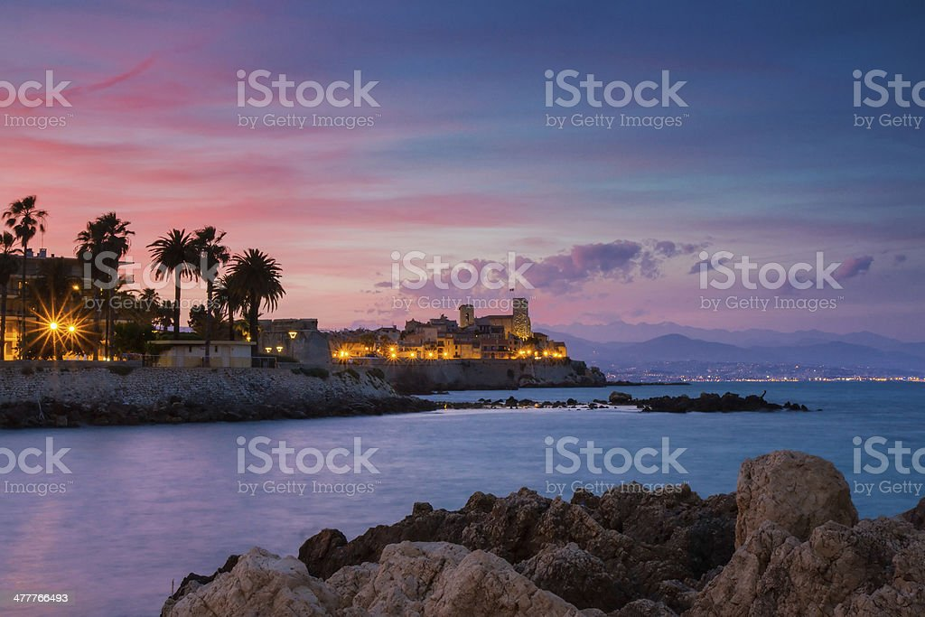 Seascape of Antibes at Sunset stock photo