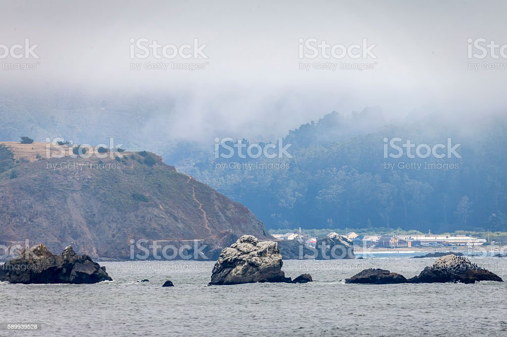 Seascape of Pacifica on a fogy day, California stock photo