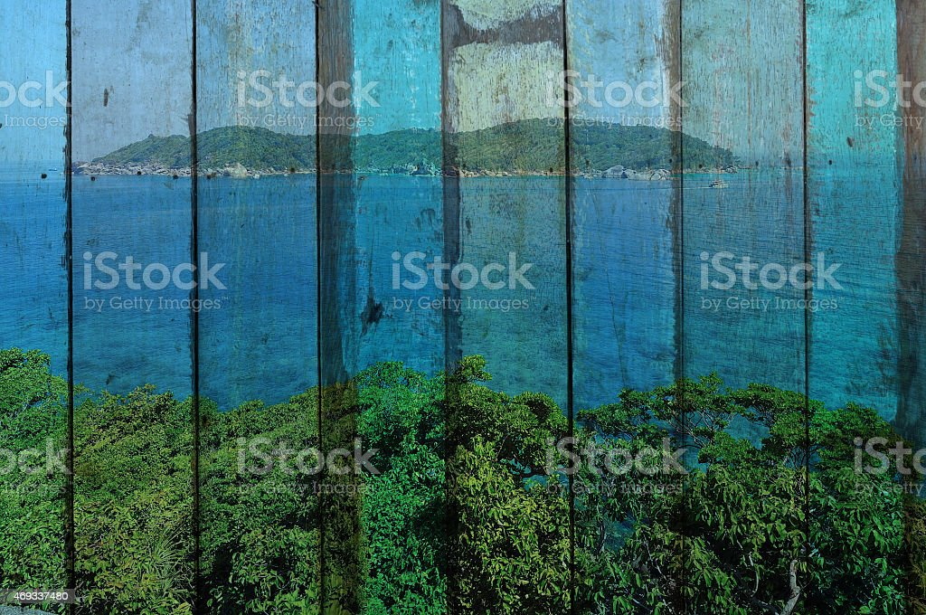 'seascape of similan, thailand' Mural. The wood painting  concep stock photo