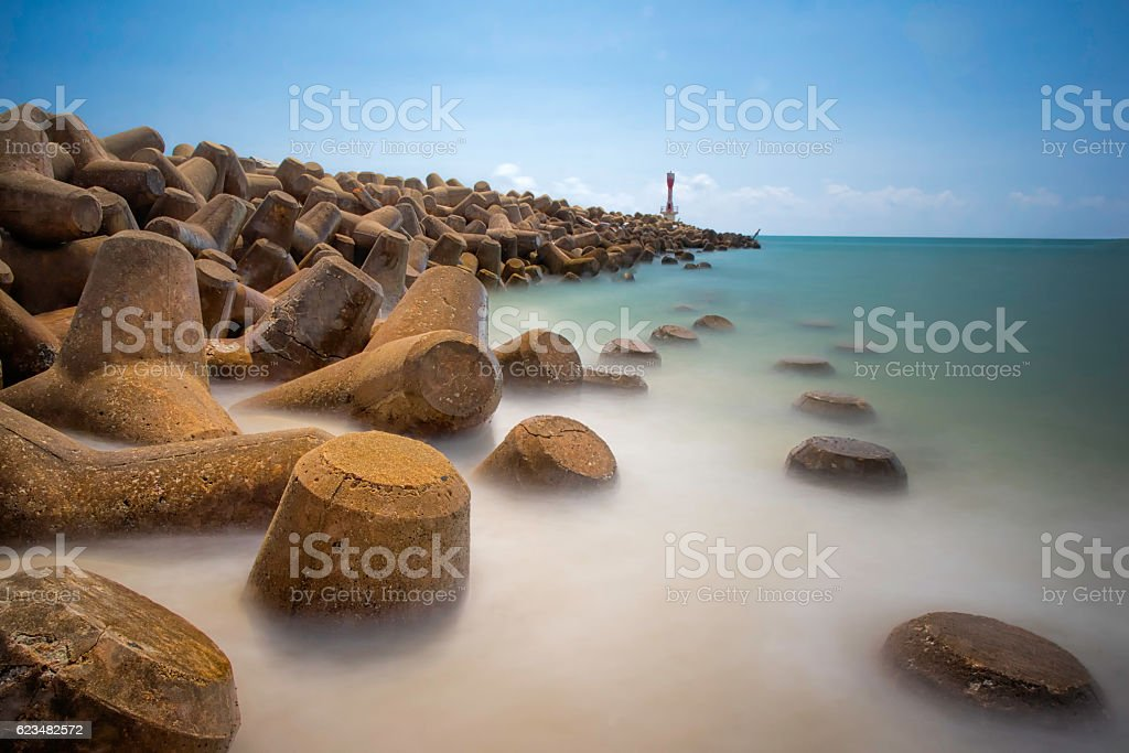 Seascape scenery with long exposure at Terengganu, Malaysia stock photo