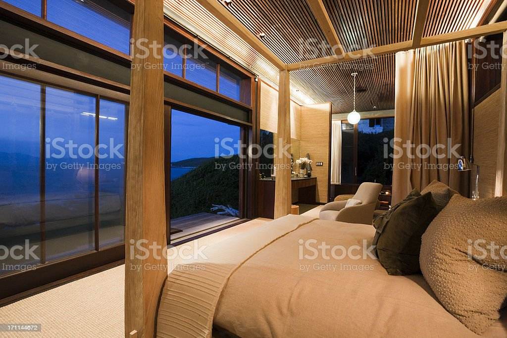 Seascape seen from bedroom of luxury seaside cottage stock photo