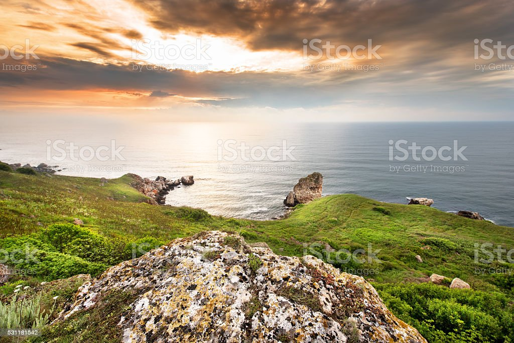 Seascape sunset. Composition of nature. stock photo
