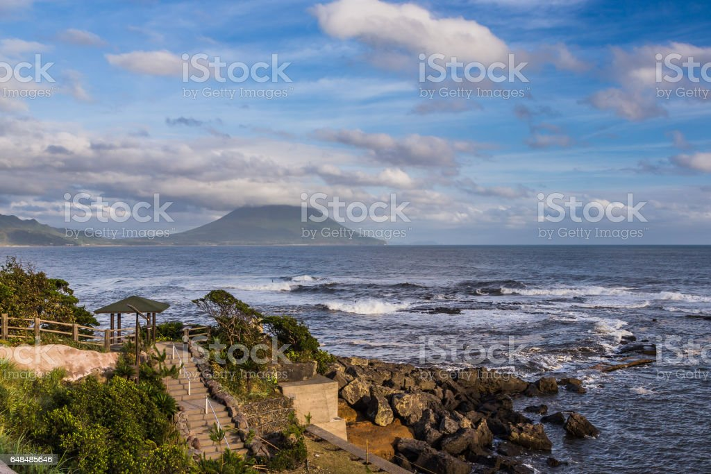 Seascape view and Mt. Kaimon in Kagoshima, Kyushu, Japan stock photo