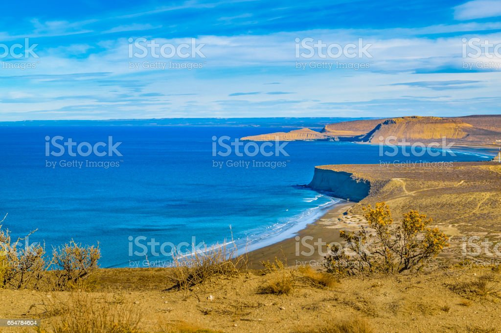 Seascape View from Punta del Marquez Viewpoint, Chubut, Argentina stock photo