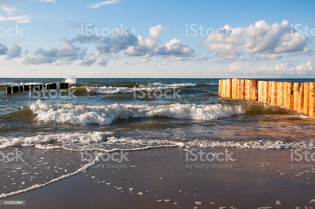Seascape with breakwaters stock photo