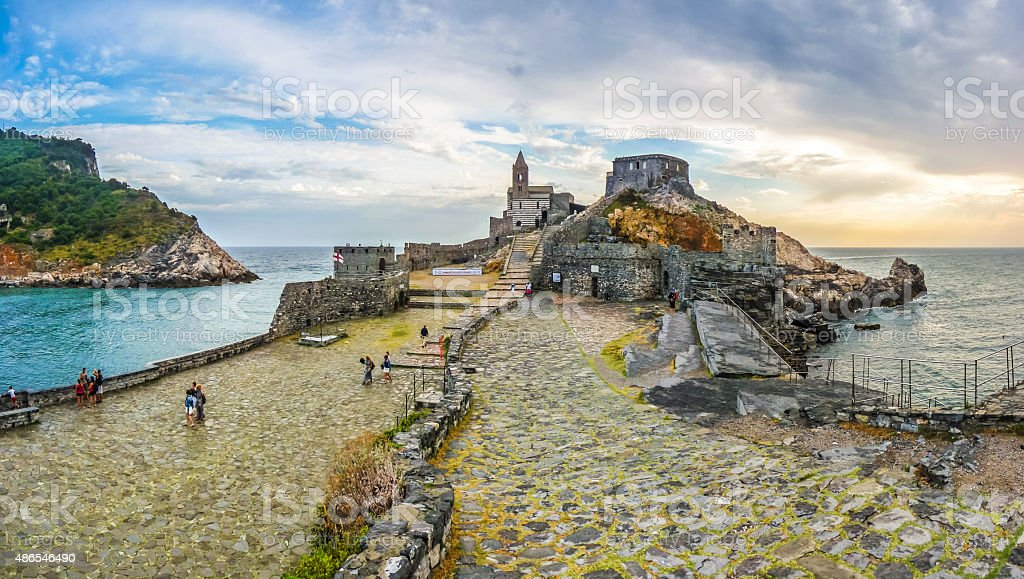 Seascape with Church of St Peter in Porto Venere, Italy stock photo