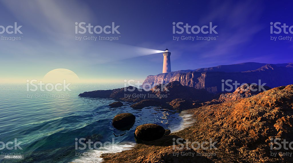 Seascape with lighthouse stock photo