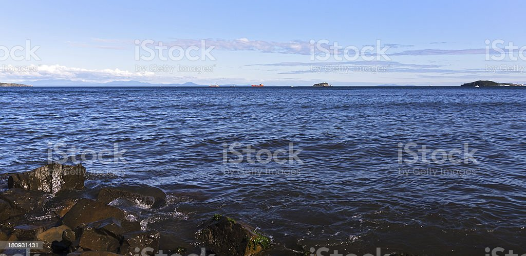 Seascape with oil tanker. royalty-free stock photo