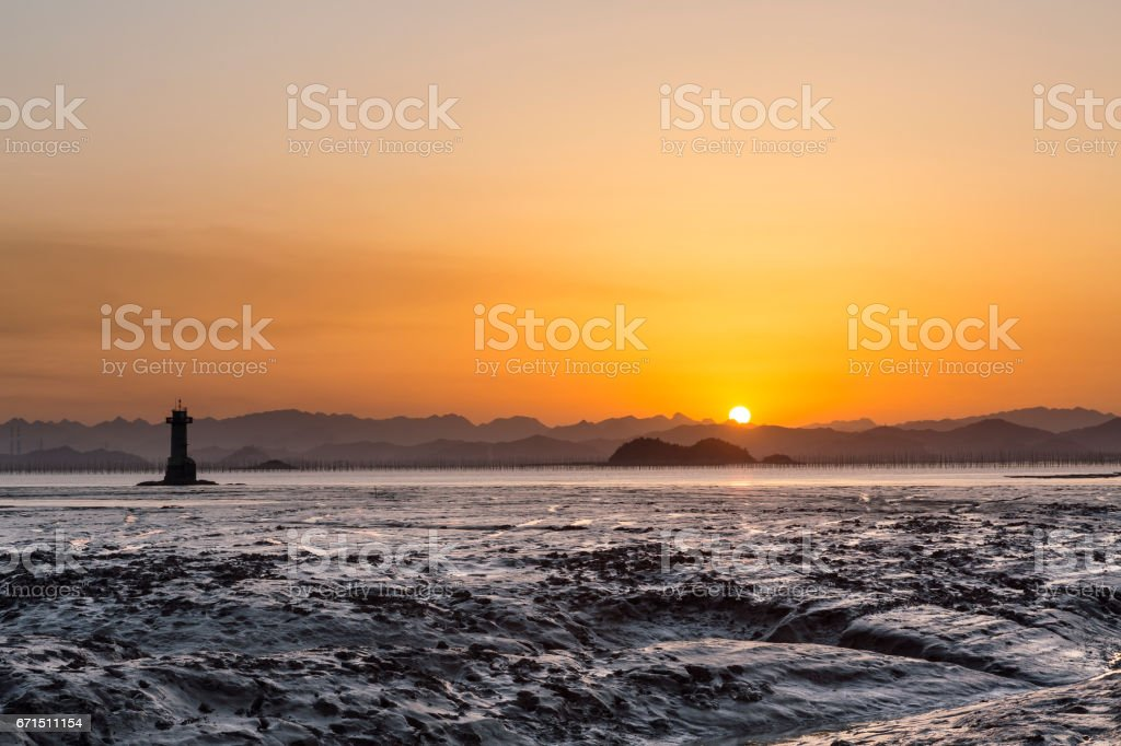 Seascape with sunset at Yueqing bay. stock photo