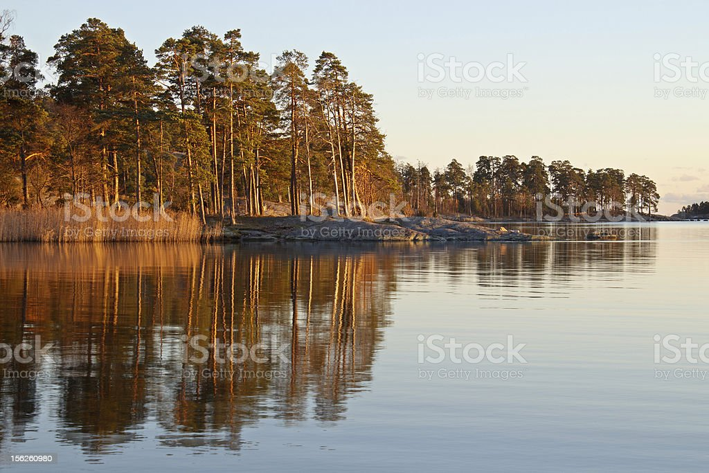 Seascape with water reflections royalty-free stock photo