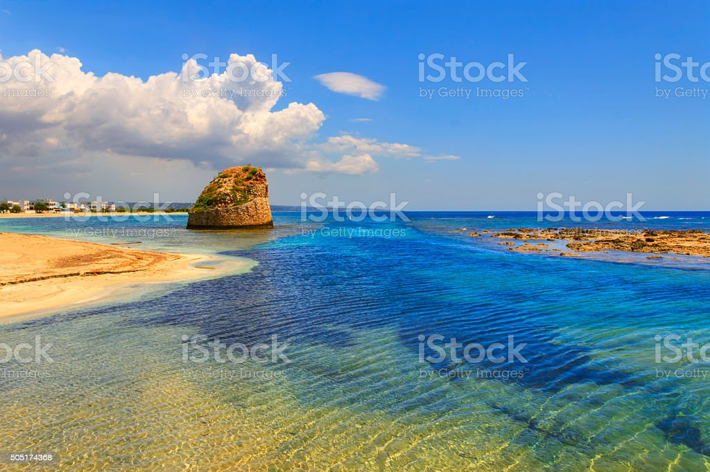 SUMMER SEASCAPE.Salento coast:Torre Pali beach (Lecce). ITALY (Apulia) stock photo