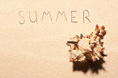 Seashell and summer lettering drawn on sand