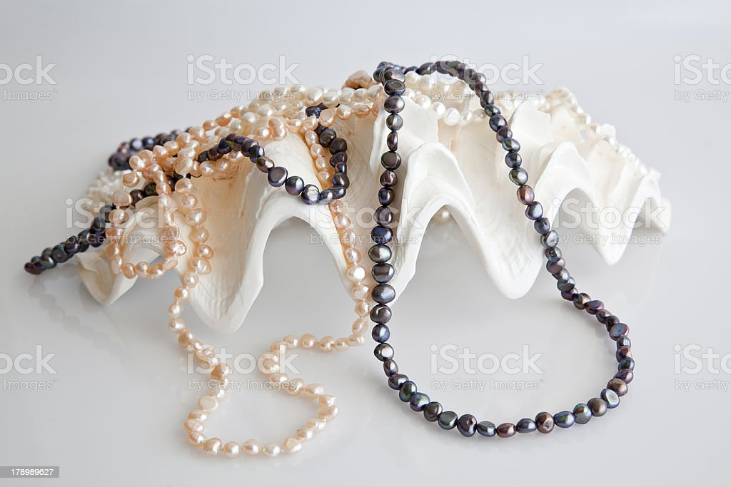Seashell decorated with pearls. royalty-free stock photo