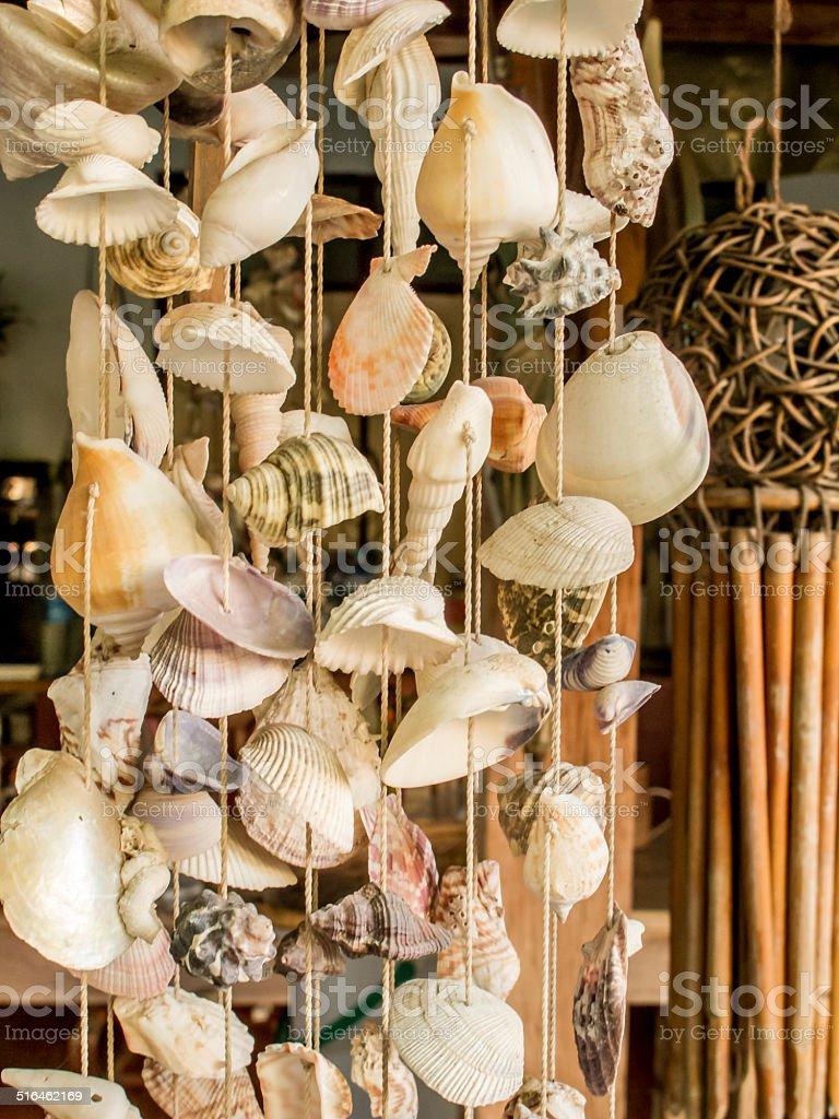 Seashell  string curtain stock photo