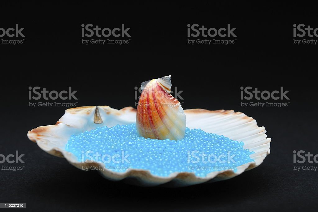 seashells and colorful bath salt crystals on black background royalty-free stock photo
