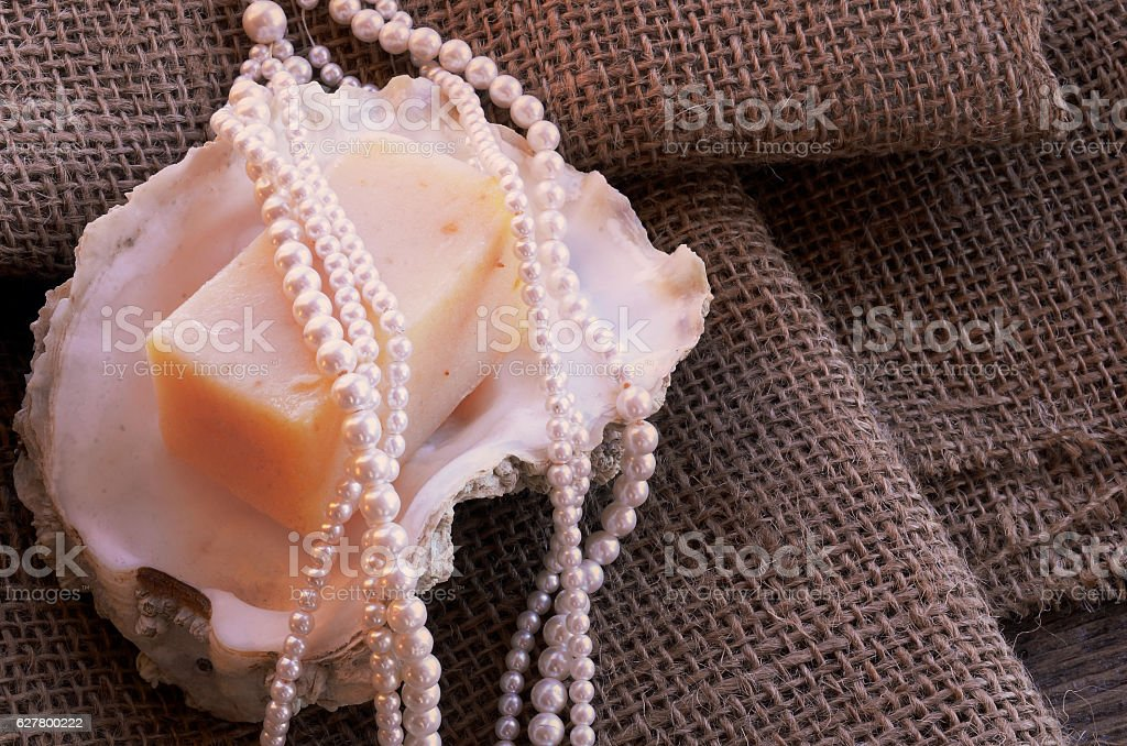 Seashells and Pearl Necklace stock photo