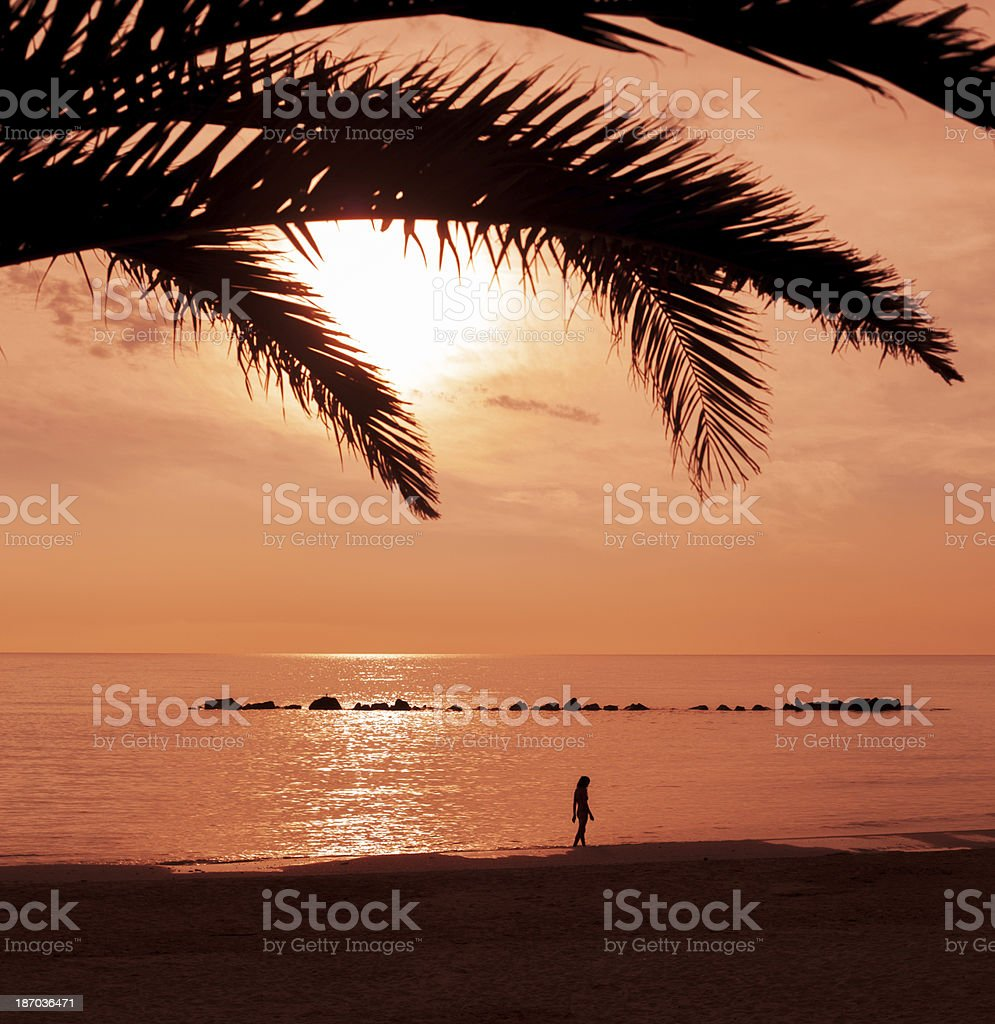 Seashore At Sunset With Woman Silhouette stock photo
