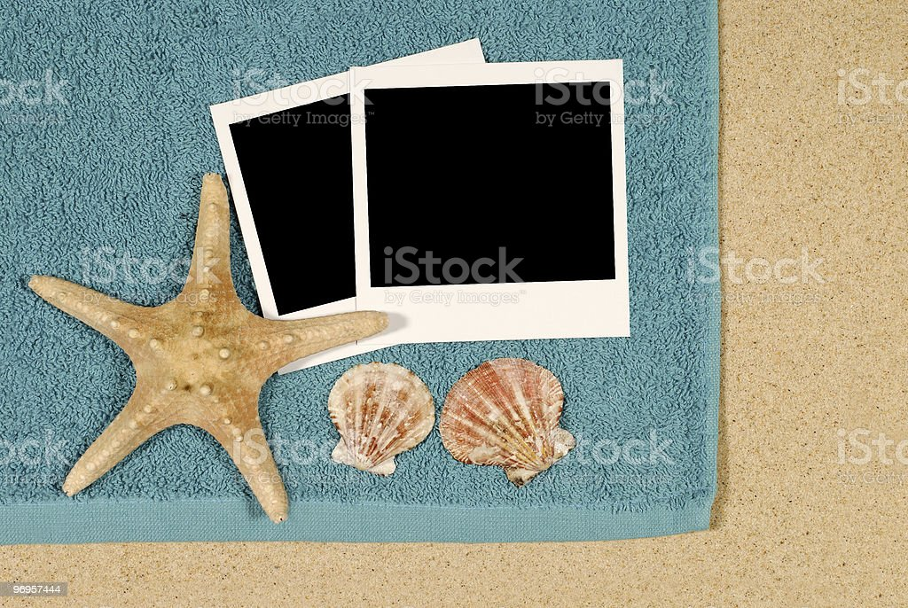 Seashore background with starfish and towel royalty-free stock photo