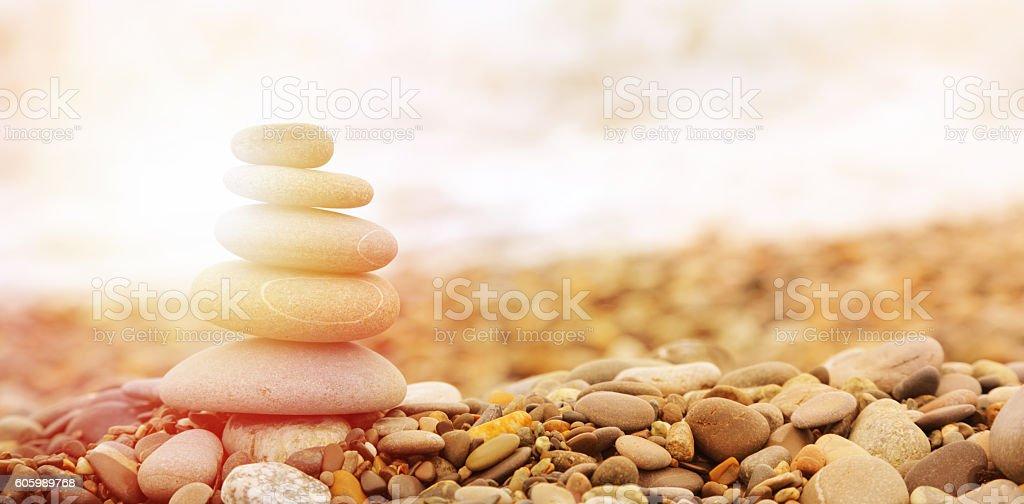 Seashore background with stones stock photo