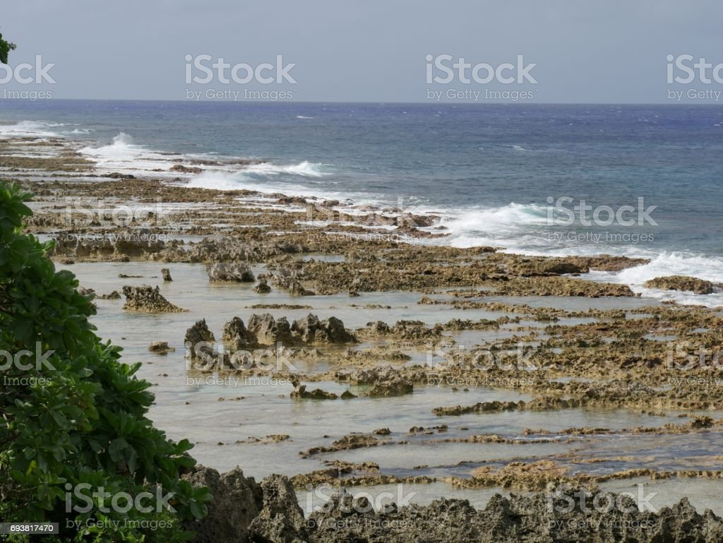 Seashore covered with coral rocks, Rota stock photo