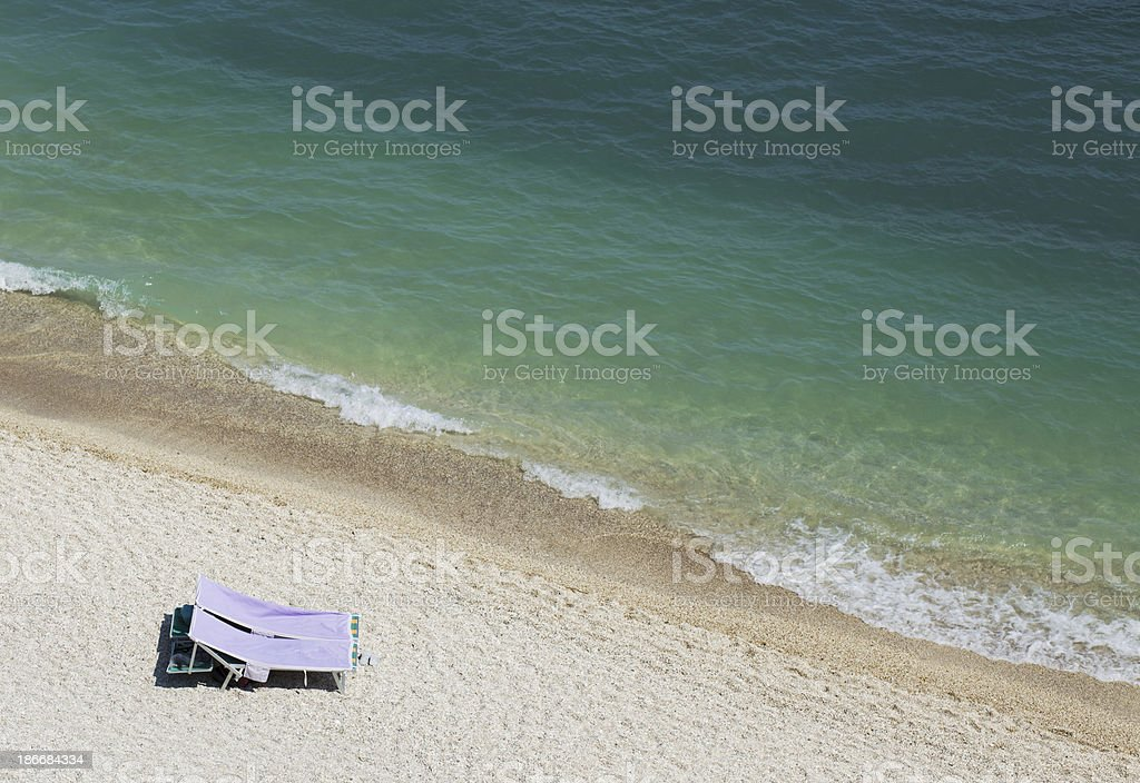 Seashore From Above With Sunbeds royalty-free stock photo