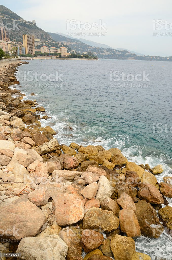 Seashore in Monte Carlo royalty-free stock photo
