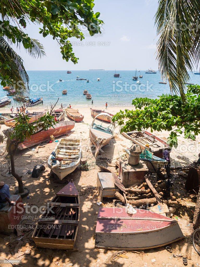 Seashore in Stone Town, Zanzibar stock photo