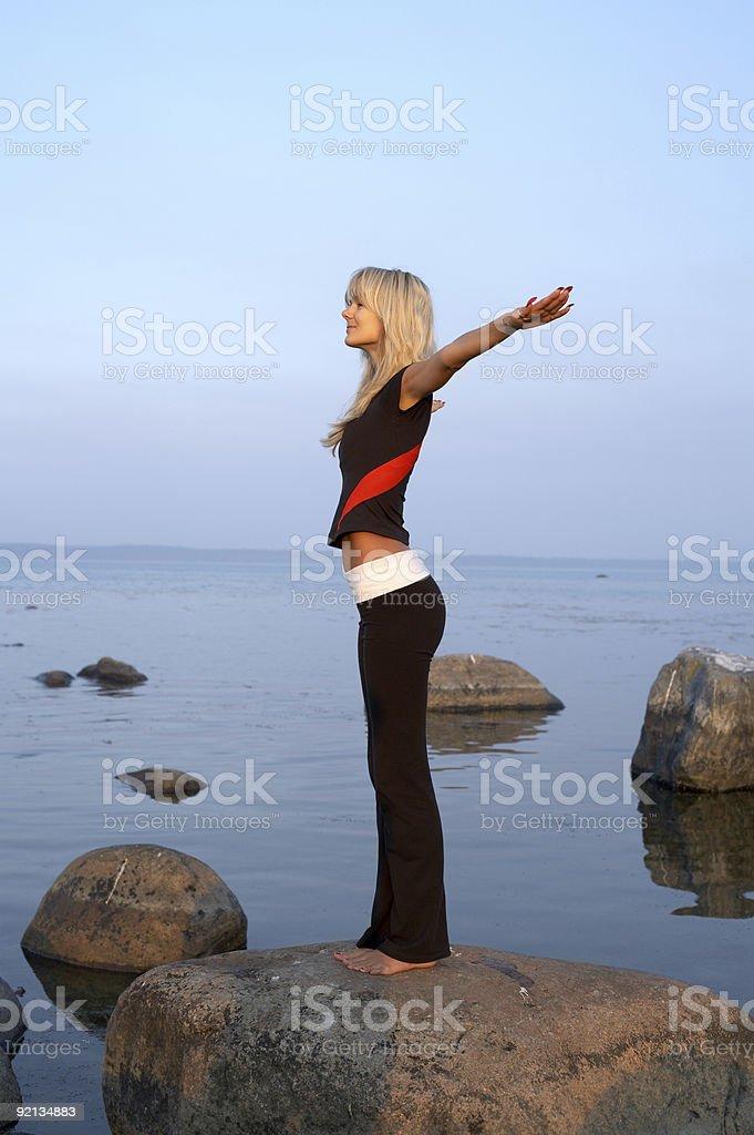 seashore meditation royalty-free stock photo