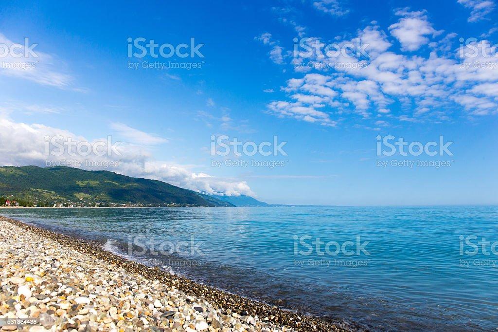 Seashore pebble beach stock photo