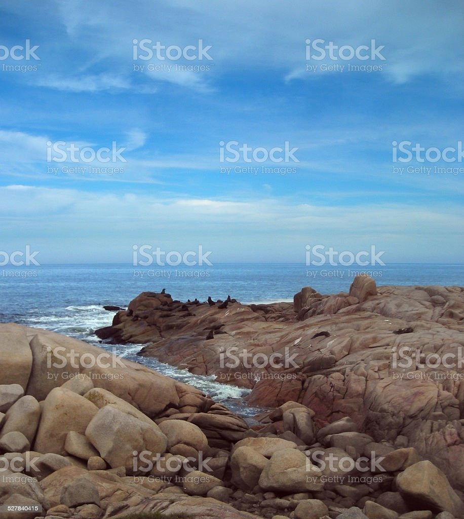 Seashore with rocks royalty-free stock photo