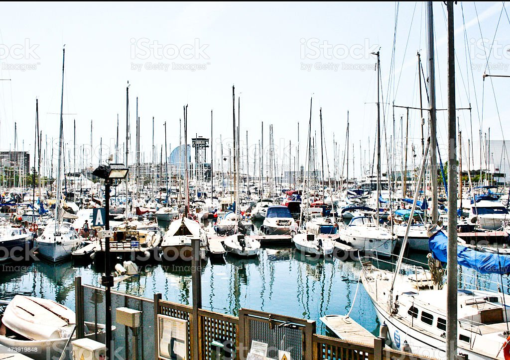 Seaside and boats by the water royalty-free stock photo