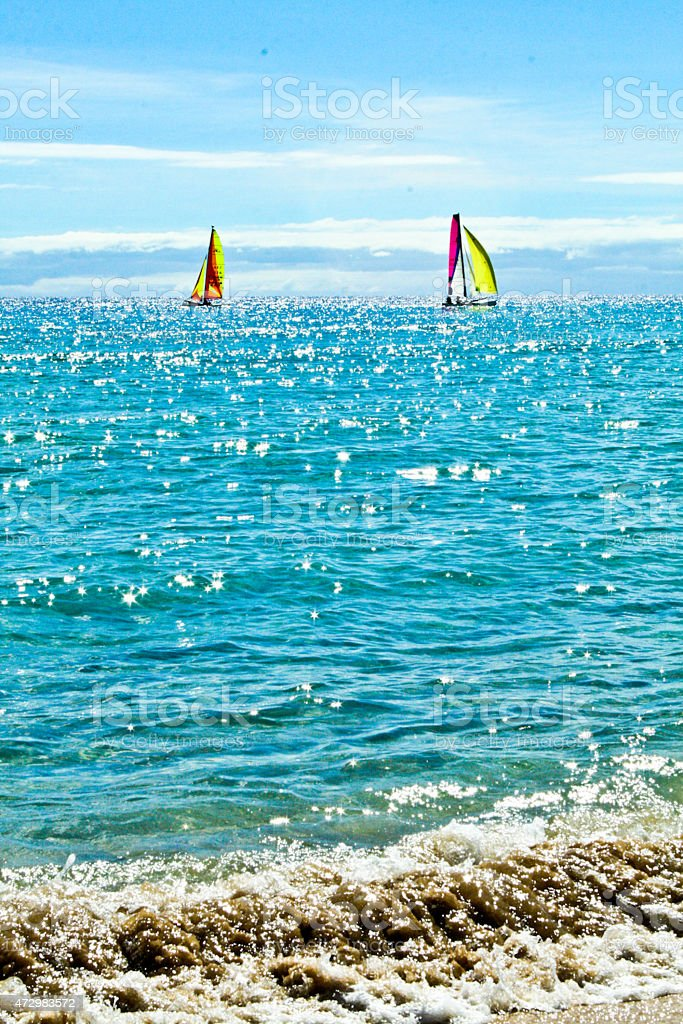 Seaside and the boats in the water royalty-free stock photo