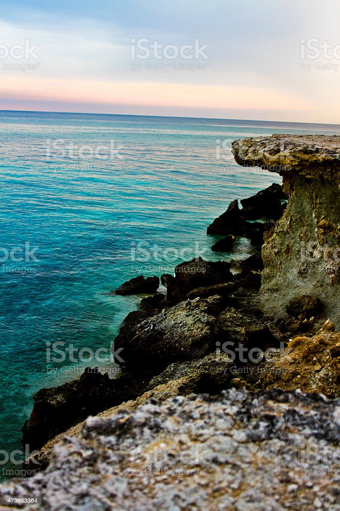 Seaside and the cliff by the water royalty-free stock photo