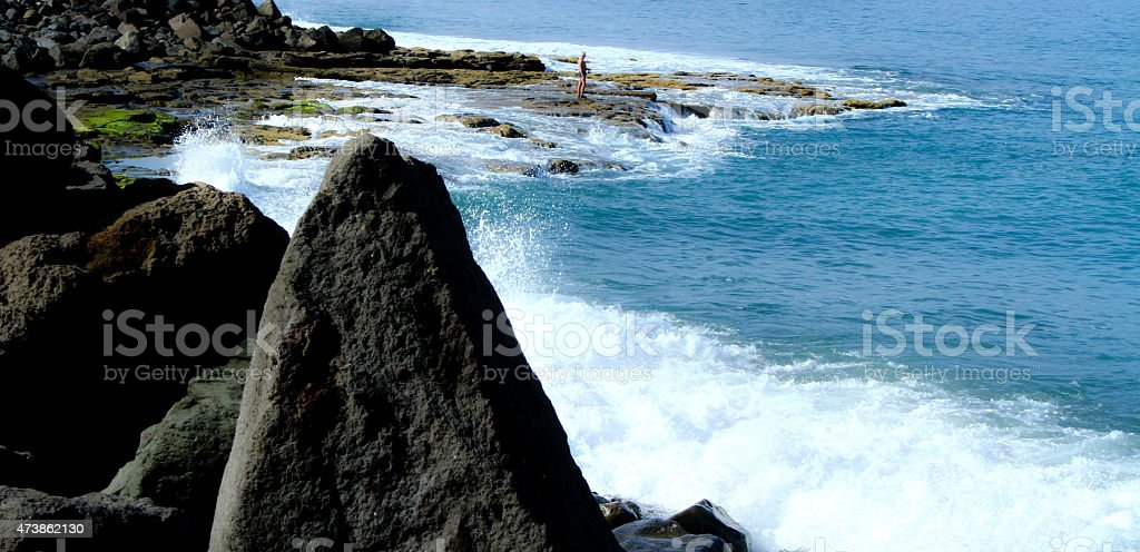 Seaside and the cliffs by the water royalty-free stock photo