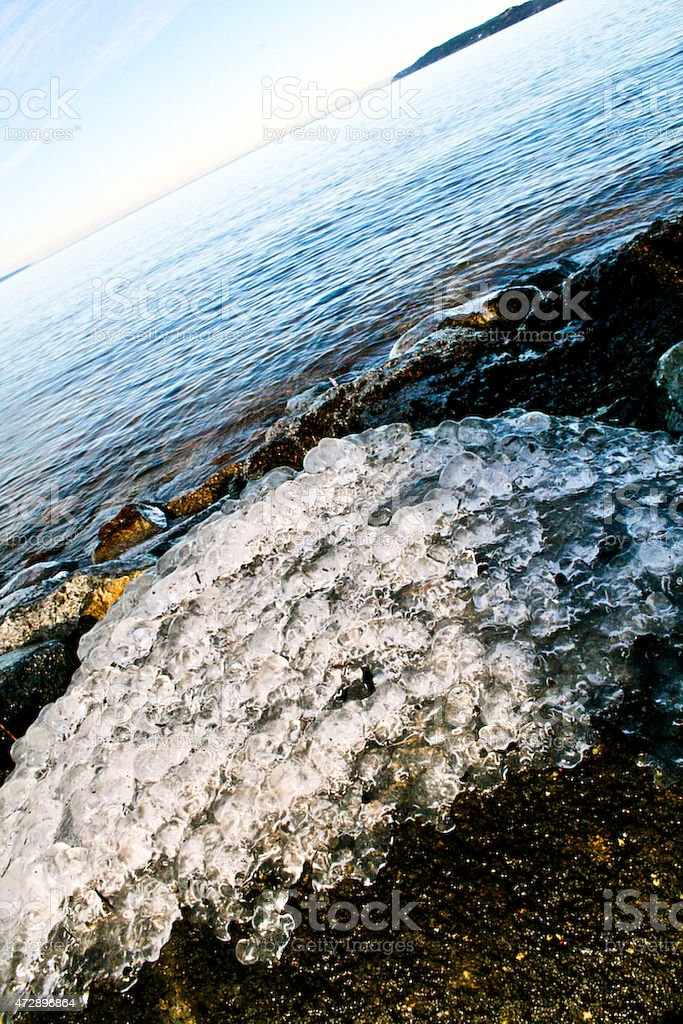 Seaside and the frozen water in winter royalty-free stock photo
