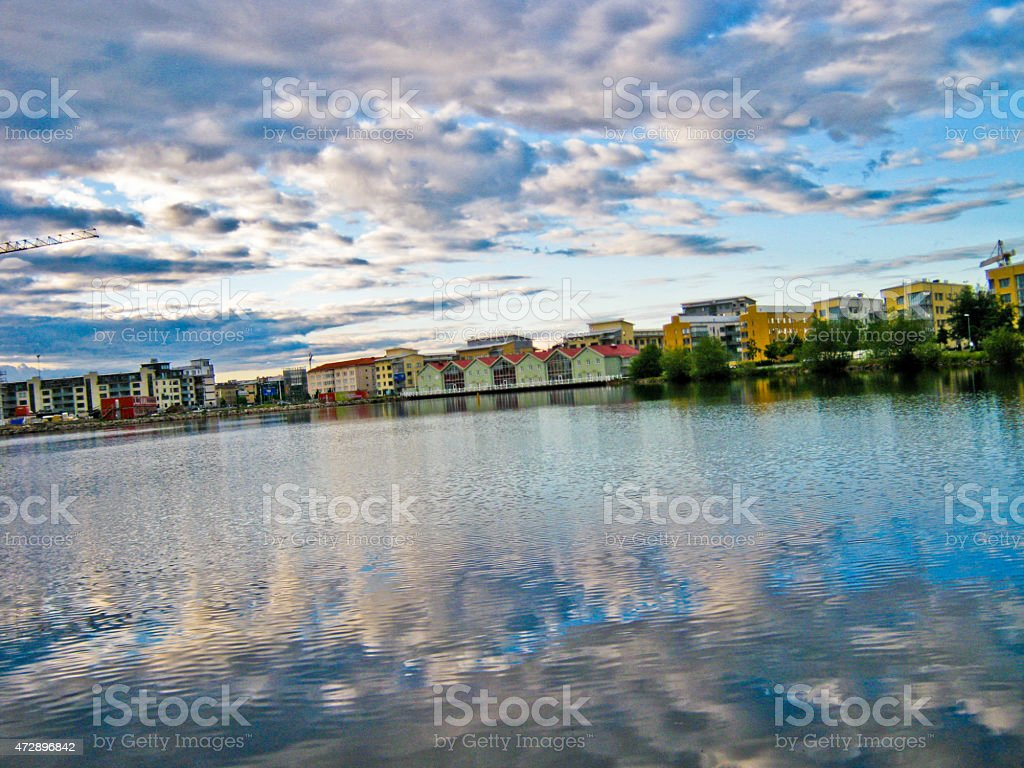 Seaside and the reflection of clouds in the water royalty-free stock photo