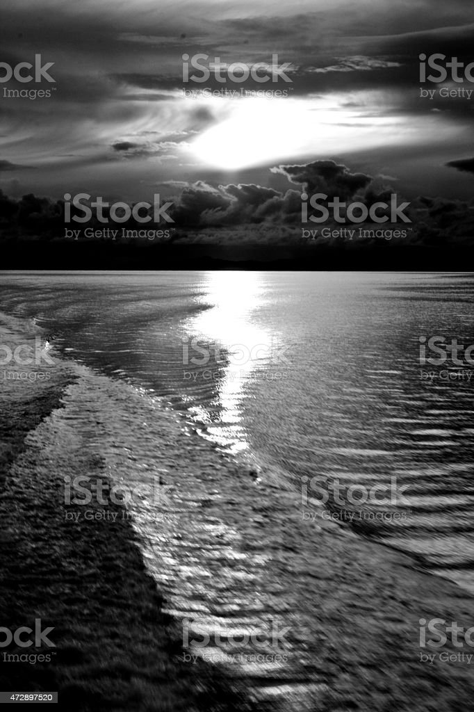 Seaside and the water in black & white royalty-free stock photo
