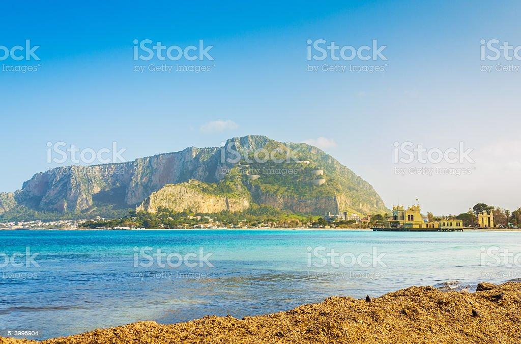 seaside at Palermo city, Sicily. stock photo