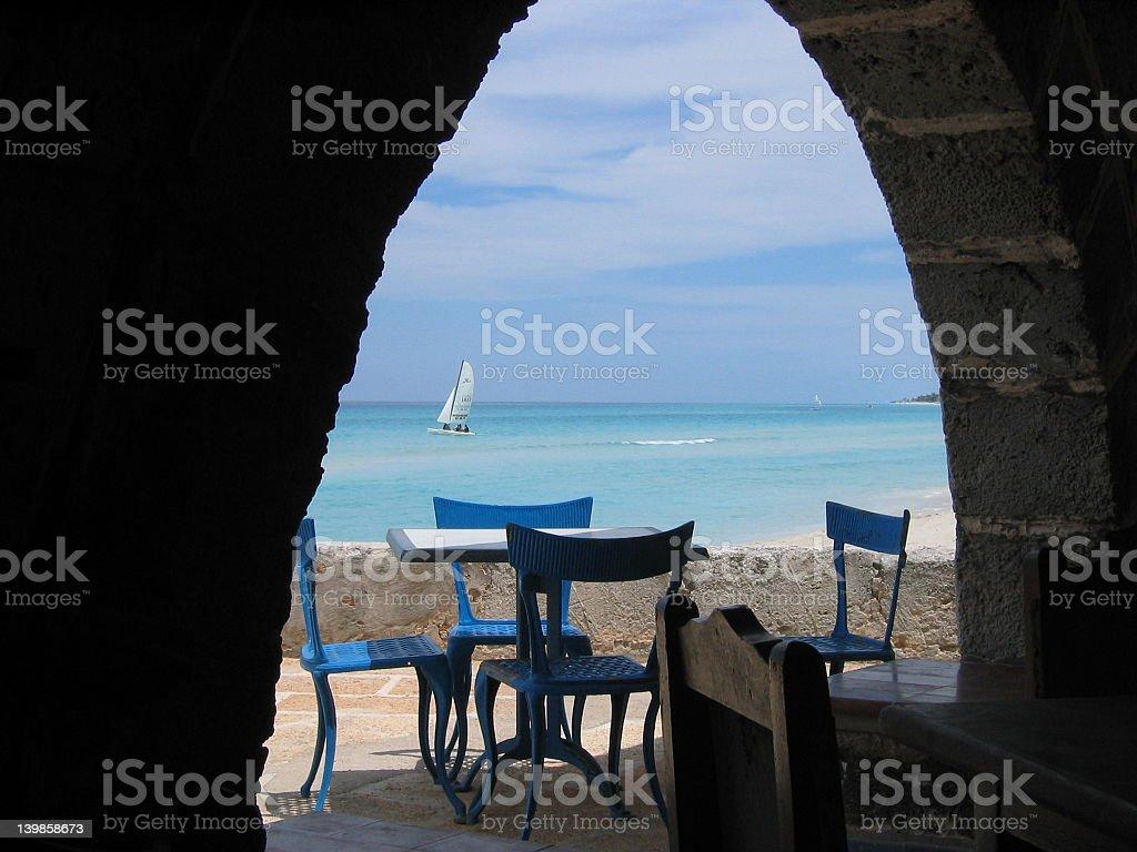 Seaside dining stock photo