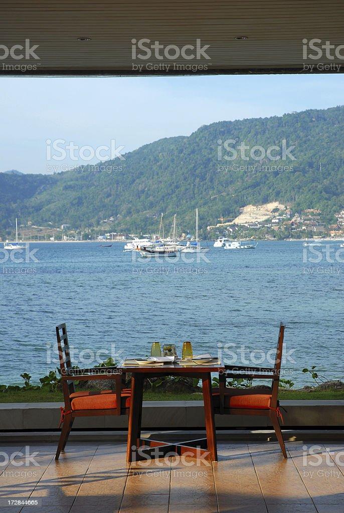 Seaside dining royalty-free stock photo