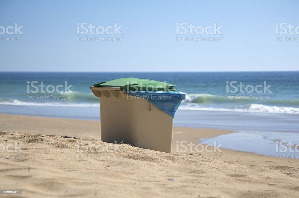 seaside garbage container royalty-free stock photo