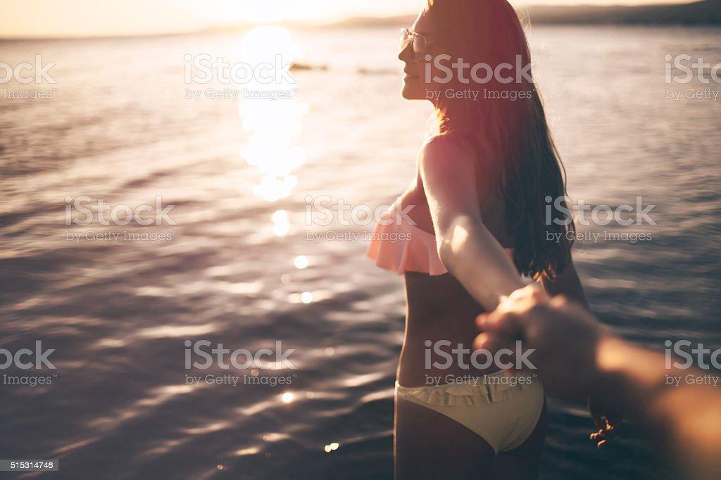 Seaside girl stock photo