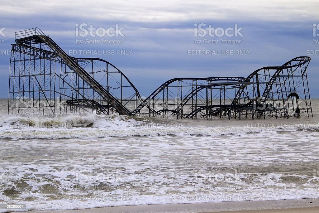 Seaside Heights roller coaster after Hurricane Sandy stock photo