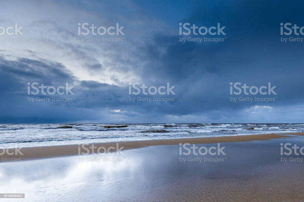 Seaside in trendy blue riverside color stock photo