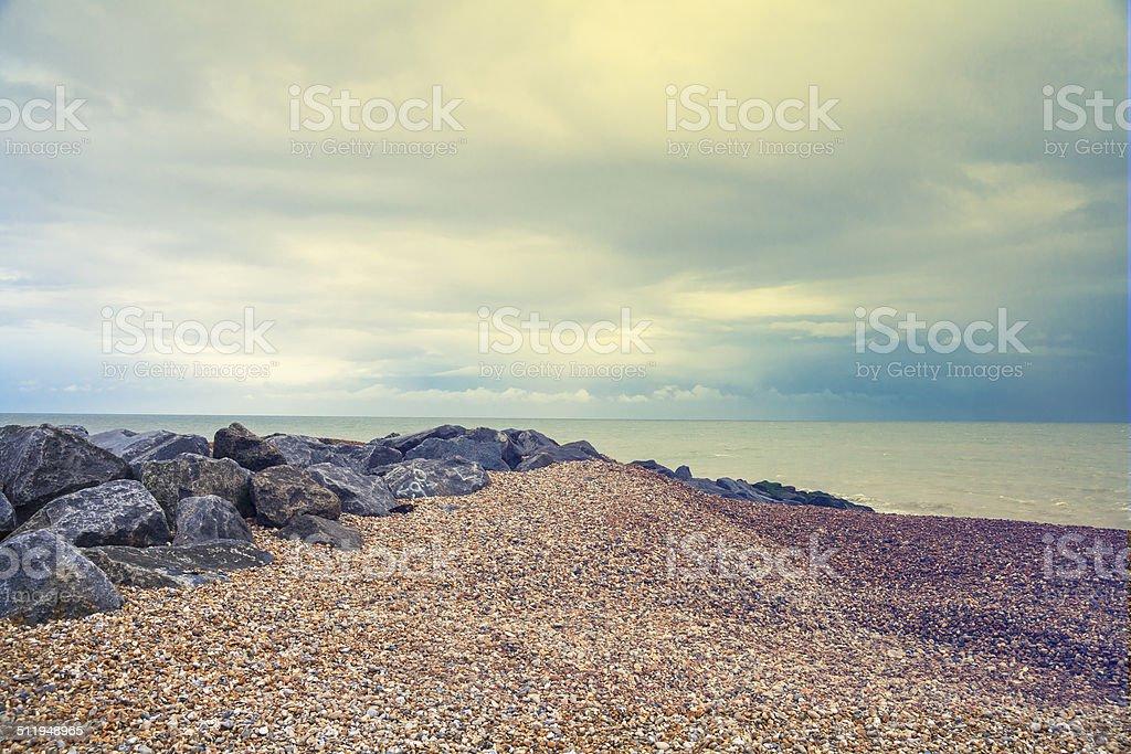 seaside landscape, beach near Canal LaManche stock photo