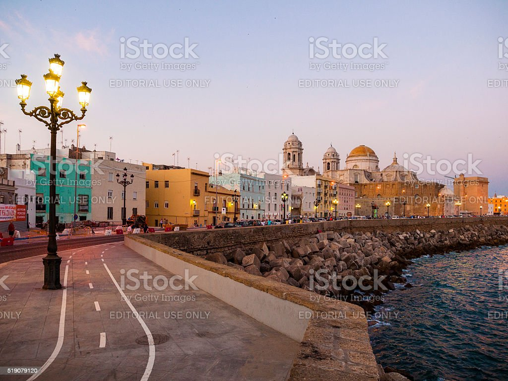 Seaside neighborhood in Cadiz, Spain stock photo